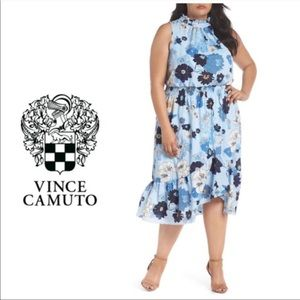 Vince Camuto Floral Blue Sleeveless Dress 14W